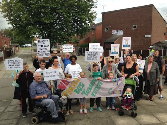 Hunslet protesters in August 2014