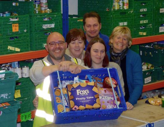 Leeds South & East Food Bank volunteers: Jason White, Wendy Doyle, Amie Thompson, Steve Vincent & Denise Comer