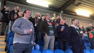 Travelling fans cheer on Hunslet
