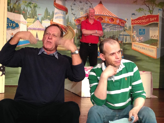 Bill Taylor, who plays the Dame 'Cookie' and Ian Noble, her son 'Robert',in rehearsal