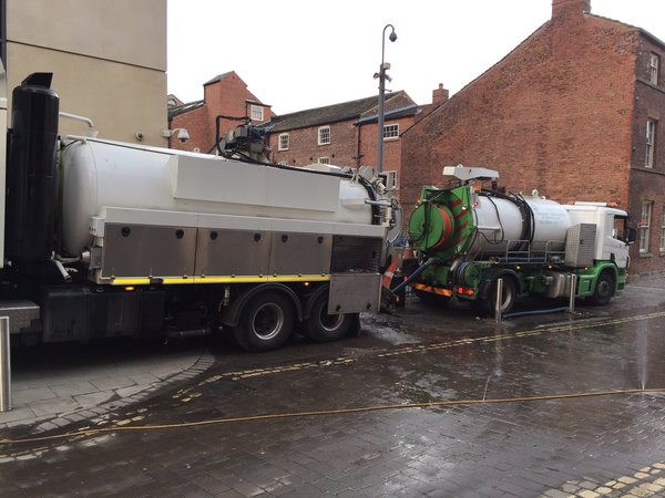Pumping out cellars in Dock Street. Photo: Hilary Benn