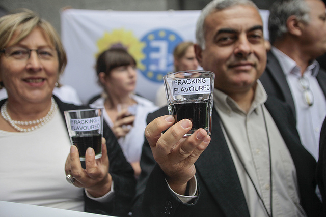 Green MEPs pose with 'fracking flavoured' water outside the European Parliament. Photo: greensefa via Creative Commons