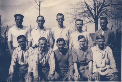 Harry (back right) as a POW during WW2