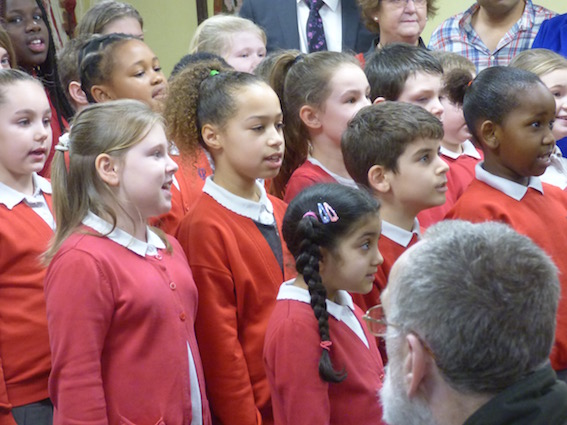 Children from Ingram Road Primary School sing Start of a New Holbeck