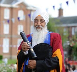 Harbans Singh Sagoo receiving his honorary doctorate from Leeds Beckett University
