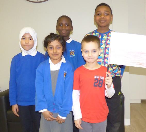 Husna, Ayesha, Awa, Filip and Samuel from Hugh Gaitskell Primary School