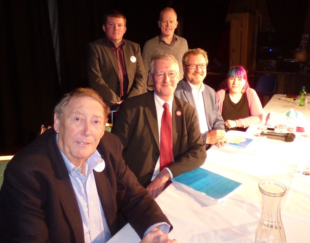 Panel members: Luke Senior, Graeme Tiffany (standing) Austin Mitchell, Hilary Benn MP, Gerald Jennings and Peg Alexander