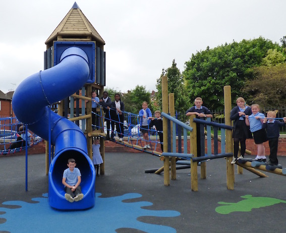 Members of the Hunslet Carr Primary School Council show off their new climbing frame