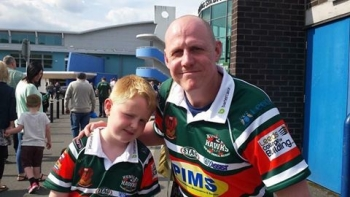 Mark Smith with his son at South Leeds Stadium
