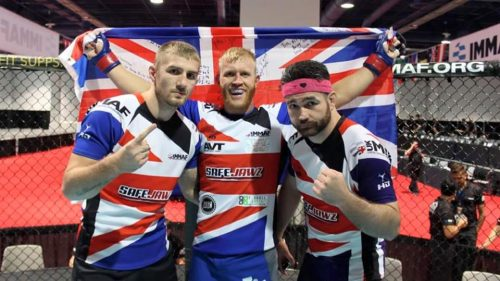 Tom (centre) with team mates in Vegas (image courtesy of UKMMAF)