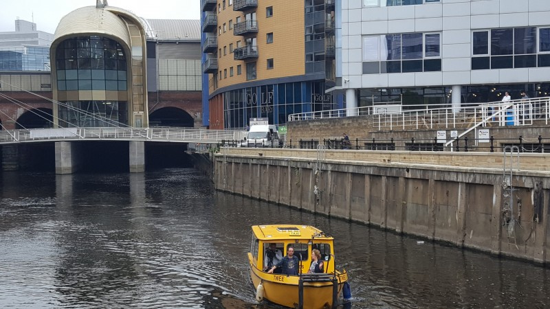 Cllr Judith Blake in conversation with Huw Cross, Managing Director of Yorkshire Hire Cruises which operates the Leeds Dock Water Taxi on behalf of Allied London