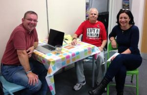 Jeremy, Ken and Lucy at the Belle Isle News Cafe