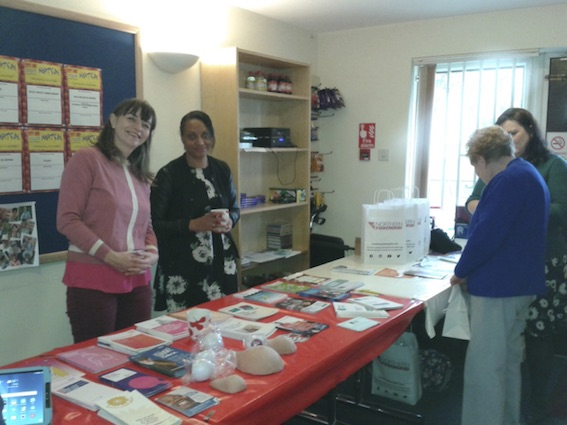 Sally Blyth (left) from Women's Health Matters, Carrie Grey (centre) from Carers Leeds and Victoria Elmsley (far right) from the Citizens Advice Bureau