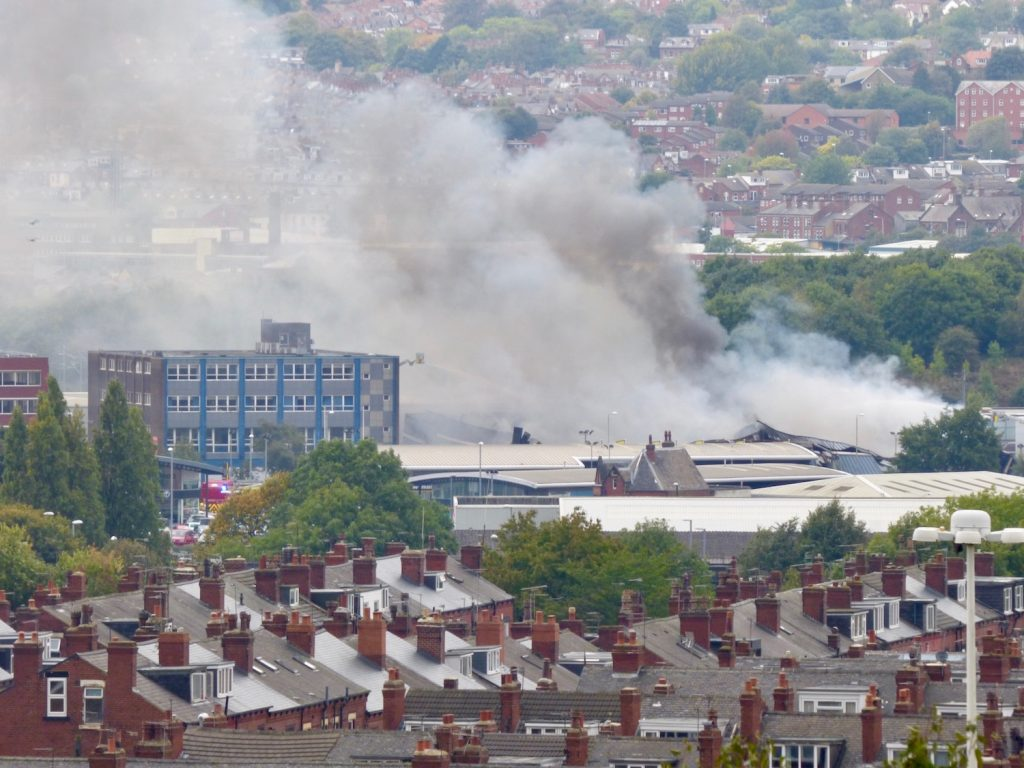 Fire at Pettys Printworks taken from Holbeck Cemetery by Jeremy Morton