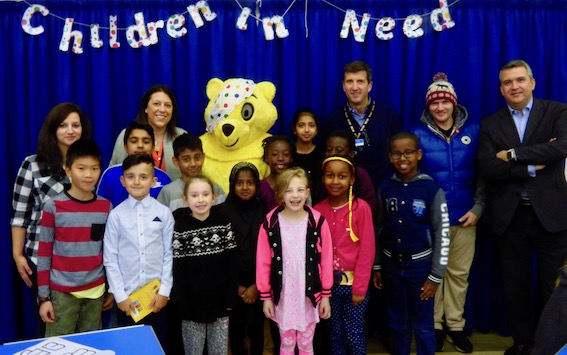 Pudsey and pupils from Hunslet Moor Primary School with (L-R): Isabelle Bailey, Hannah Pearson, Tony Taylor (Greggs) and David Collins (PWC)