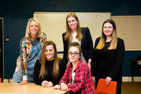 Back, from the left, The Shine Project team leader Kate Alty with commercial solicitor Sarah Briscall and corporate and commercial paralegal Hayley Milton from Shulmans. Front, 15-year-olds Chloe Dennison, left, and Millie Wood.