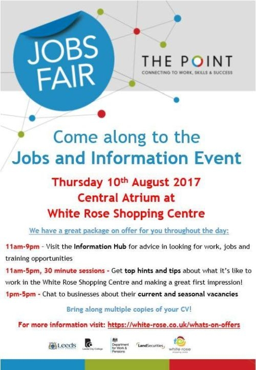 jobs fair returns to white rose shopping centre south. Black Bedroom Furniture Sets. Home Design Ideas
